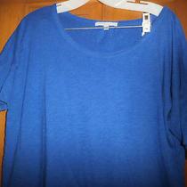 Gap Royal Blue Knit Top Loose Fit Boatneck G 3/4 Sleeve Cotton Blend Sz -M Euc Photo