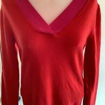 Gap (S) Womens Mega Soft Red/ Pink v- Neck Long Sleeve Sweater Photo