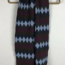 Gap Scarf Merino Wool Argyle Blue Purple Gray Diamond Pattern 10 X 67 Inch Photo
