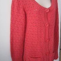 Gap Scoop Round Neck Eyelet Long Cardigan Sweater  Dark Pink Salmon  Size M Photo