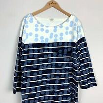 Gap Serene Blue Striped Harbor Dot 3/4 Sleeve Cotton Shirt Top Size X-Large Xl  Photo