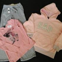 Gap Set of 3 Girls Size 6 Clothes New Sweatpants & L/s Shirt & Euc Fleece Hoodie Photo