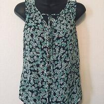 Gap Sheer Floral Blouse Top Button Front Black White Mint Green Womens Size Xs Photo
