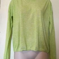 Gap Shirt Small Lime Green White Print Lightweight Thin Knit Viscose Sweater Top Photo