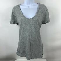 Gap Shirt Women's Size Large Gray Basic Short Sleeve v Neck Casual 100% Cotton Photo