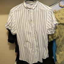 Gap Short Sleeve Stripe Striped Button Up Shirt Top White Blue Womens Loose S Photo