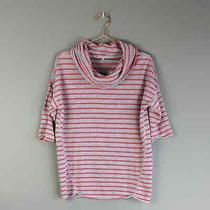 Gap  Short Sleeve Striped Sweater Cowl Neck Holiday Christmas Red Gray Xs Photo