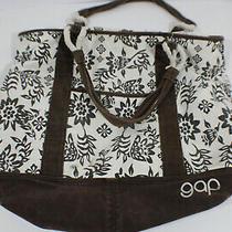 Gap Shoulder Bag Tote White Brown Weekender Cotton Travel Photo