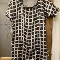 Gap Silky Grey Black Square Scoop Neck Short Sleeve Tunic Dress Size Sp Bust 42 Photo