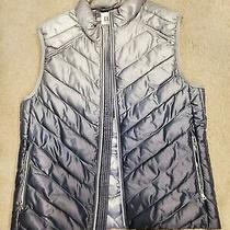 Gap Silver Ombre Print Puffer Vest M Photo