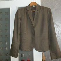 Gap Single Button Linen Khaki Blazer Jacket Size 6 Uk 10-12 Lined Photo