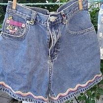 Gap Size 10 Girls Blue Jean Shorts Embroidered With Bubble Bees Lady Bugs... Photo