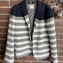 Gap Size 12 Academy Blazer Jacket Navy White Grey Striped Womens Career Business Photo