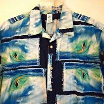 Gap Size 14-16 Xxl Boys Surfer Theme Casual Shirt - Blues Greens White Cotton Photo
