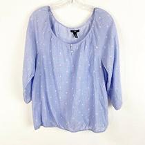 Gap Size Large Blue Dotted Boho Scoop Neck 3/4 Sleeve Pheasant Top Shirt Cotton Photo