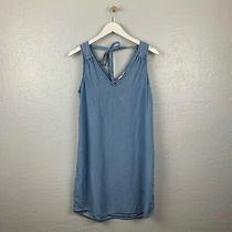 Gap Size S Blue Chambray Denim Shift Dress Sleeveless v Neck Tie Photo