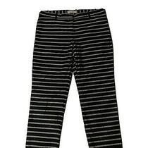 Gap Slim Cropped Linen Blend Stretch Navy Gray Striped Pants Womens Size 6 Photo