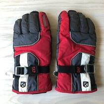 Gap Snow Ski Gloves 40 Gram Thinsulate Insulation Gray & Red W/ Finger Squeegee Photo