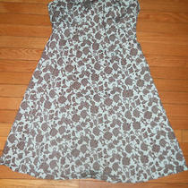 Gap Strapless Sun Dress Women's Size 16 Brown Aqua Blue Retro Floral Print Photo