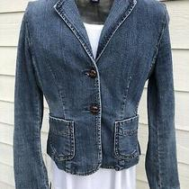 Gap Stretch 0 Blue Jean Jacket Floral Lining Blazer Style Faux Leather Buttons Photo