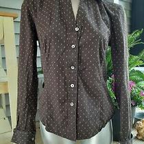 Gap Stretch Women's Small Brown Yellow Stitch Long Sleeve Button-Down Shirt Photo