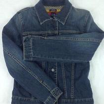 Gap Stretch Womens S Blue Denim Jacket Multicolor Sweater Lambs' Wool Lining Photo