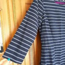 Gap Striped Denim 3/4 Sleeve Round Neck Skater Dress Size 4 (Uk 12) Photo