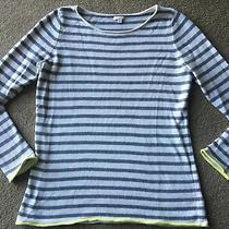 Gap Striped Gray White Yellow Sweater Womens L Large Modern Cotton Cashmere Wool Photo