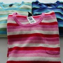 Gap Striped Sweaters Pink Blue Green 100% Lambswool Women Size Xl Extra Large Photo