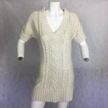 Gap Sweater Dress Ivory Kitted Short Sleeve Tunic Sz M Photo