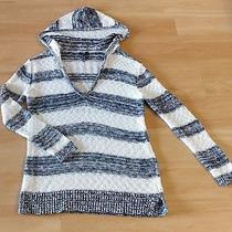 Gap Sweater Hoodie Pullover Blue White Stripe Casual Top Long Sleeve Size L Photo