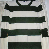 Gap Sweater M Medium  Sleeves Green White Striped Photo