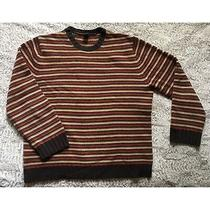 Gap Sz Large 100% Lambs Wool Striped Red Yellow Brown Long Sleeve Sweater Photo
