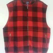 Gap Sz Xl Plaid Fleece Zip-Up Vest Lumberjack Trendy  Photo
