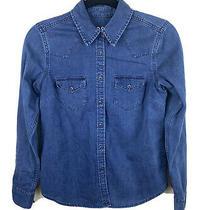 Gap Sz Xs Blue Dark Wash Denim Jean 2 Pocket Western Long Sleeve Shirt Photo