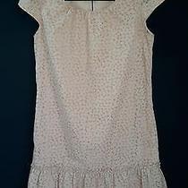 Gap Sz Xs Dusty Peach Polka Dot Ruffle Hem Shift Cap Sl Pocket Dress Cute Photo