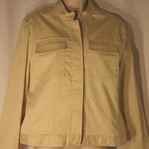 Gap Tan Jacket Size L Unlined Stand Up Collar Buttons Photo