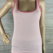 Gap Tank Top Small Pink White Horizontal Striped Sleeveless Spring Summer Shirt Photo
