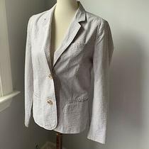 Gap Taupe Beige Tan Seersucker Blazer Jacket Size 12 Photo