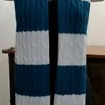 Gap Teal Blue & White Cable Knit Scarf Fringe Ends  6-3/4