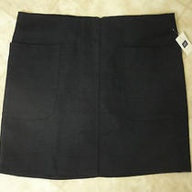 Gap Textured Cotton Navy Mini Skirt With Front Patch Pockets- 10 Photo