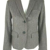 Gap the Academy Blazer Women's Size 2 Brown Blue Tweed Wool Blend Career Work Photo