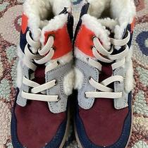 Gap Toddler Sz 11 Lace Up Suede Wool Ankle Boots  Maroon/navy/grey/orange New Photo