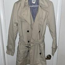 Gap Trench Coat - Beige White - Size Small - Double Breasted - Belted - Cotton Photo