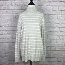 Gap Turtleneck Sweater Womens Size Large Gray White Stripe Photo