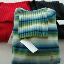 Gap Turtleneck Sweaters Black Red & Green Blue Striped Women Size Xl Extra Large Photo
