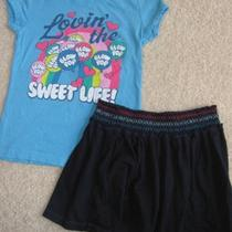 Gap Two Piece Girls Blow Pop Junk Food Shirt Top & Skirt Outfit Size S 6 7 Photo