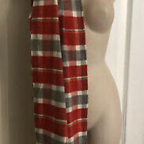 Gap Unisex 23 X 77  Cozy Oversized Red Plaid Multicolored Scarf Msrp 27 Nwt Photo
