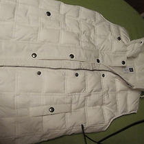 Gap Vest Puffer Quilted Polyester Sz Xs White With Hood Photo