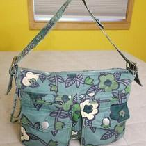 Gap Vintage Floral Messenger Bag Purse Hobo Pockets Roomy Blue Green Flowers Photo